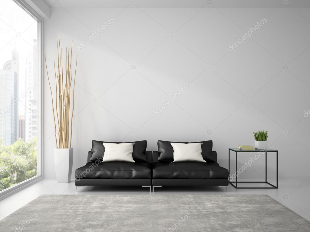 Divano Nero Cuscini : Parte dell interiore con divano nero e cuscini bianchi rendering