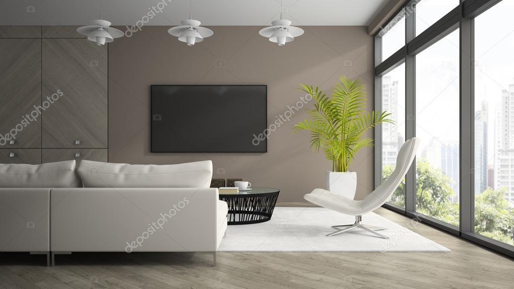 Interieur van moderne designkamer met witte leunstoel 3d renderin