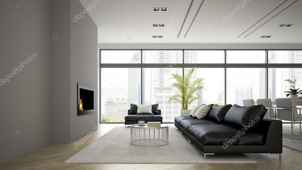 Intérieur du loft moderne avec cheminée et canapé noir rendu d