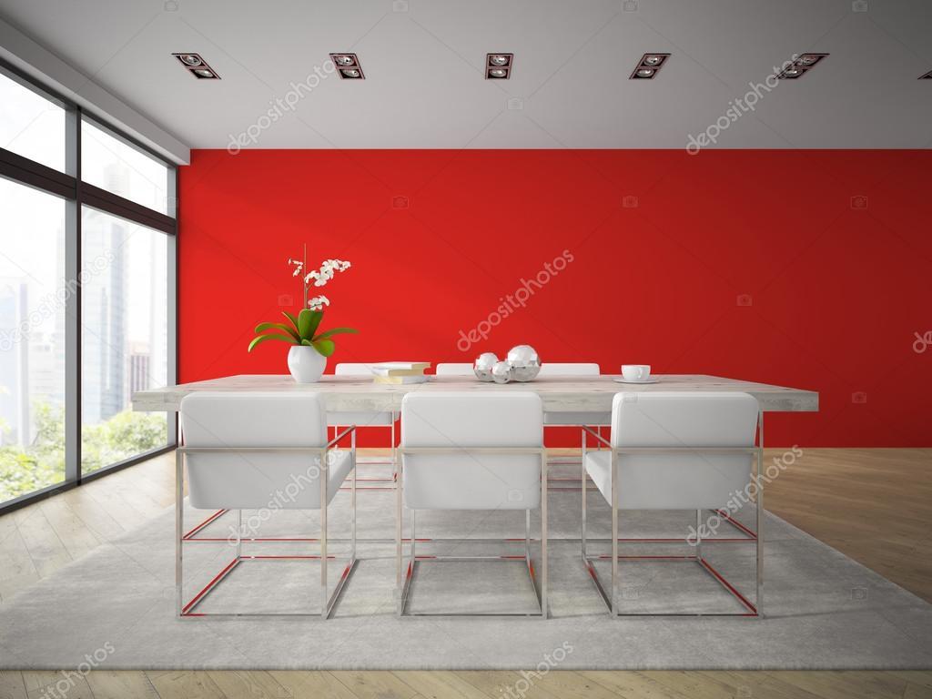 Interieur van moderne eetkamer met rode muur d rendering