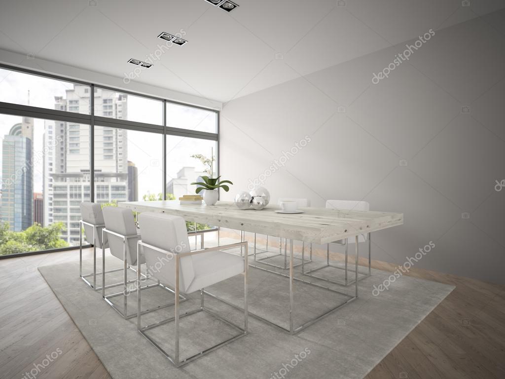 Modernes Design-Loft mit großer Tisch 3D-Rendering innen 3 ...