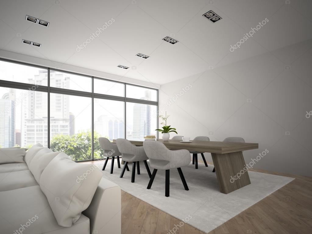 Modernes Design-Loft mit großer Tisch 3D-Rendering innen 2 ...
