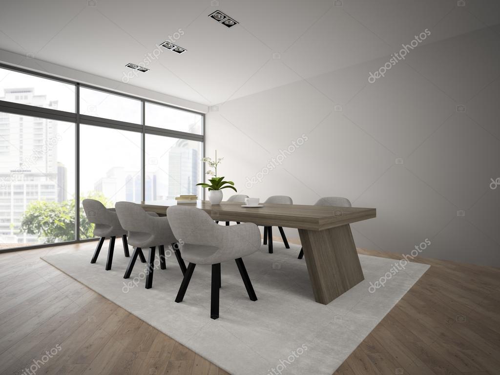 Innen modernes Design-Loft mit großer Tisch 3D-Rendering — Stockfoto ...