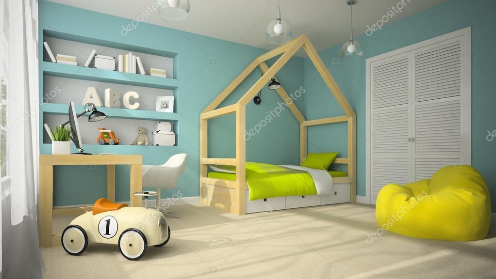 interieur van de kinderkamer met speelgoed auto 3d rendering 4 stockfoto