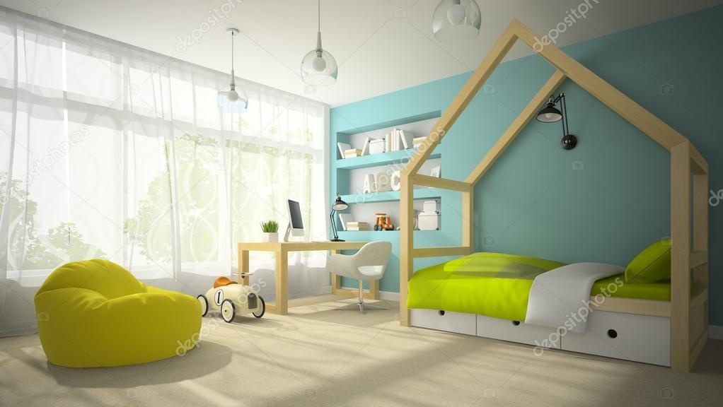 interieur van de kinderkamer met speelgoed auto 3d rendering 3 stockfoto