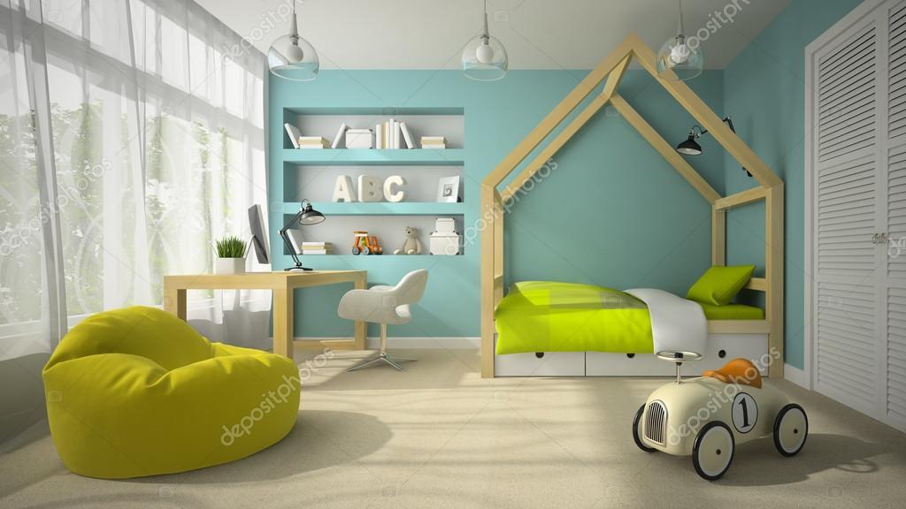 interieur van de kinderkamer met speelgoed auto 3d rendering 2 stockfoto