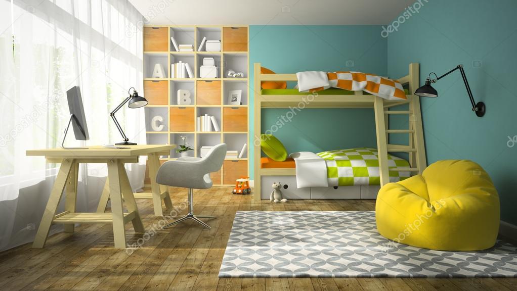 interieur van de kinderkamer met stapelbed 3d rendering stockfoto