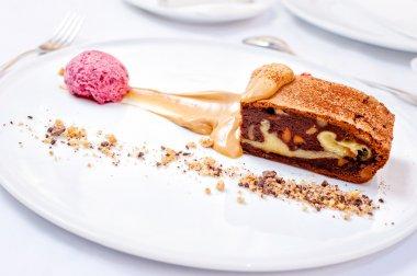 Walnut Brownies under Ice Cream with Sea-Buckthorn and Orange Tea