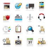 Logistika, nákladu a přepravy ikony
