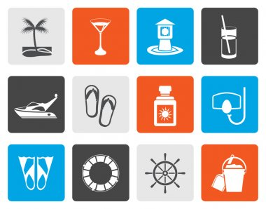 Flat Sea, marine and holiday icons