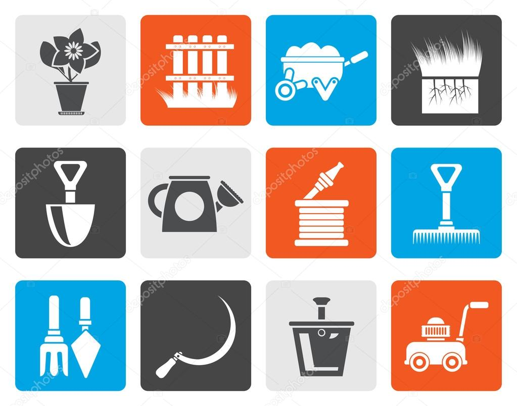Flat Garden and gardening tools icons