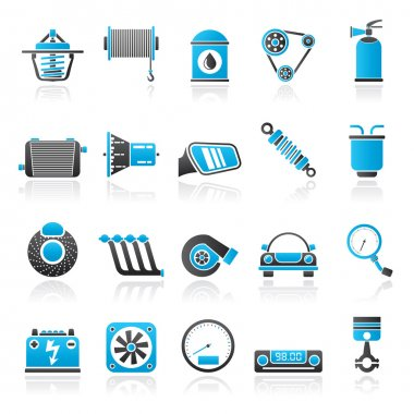Car part and services icons 2 - vector icon set clip art vector