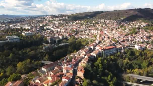Amazing Aerial view of city of Veliko Tarnovo, Bulgaria