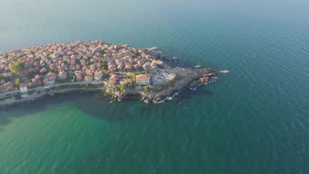 Amazing Aerial view of town of Sozopol, Burgas Region, Bulgaria