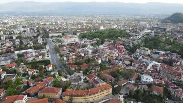 Amazing Aerial sunset view of City of Plovdiv, Bulgaria