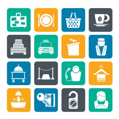 Silhouette Hotel and motel services icons