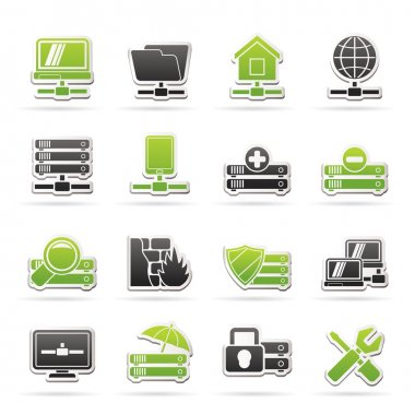 Server, hosting and internet icons