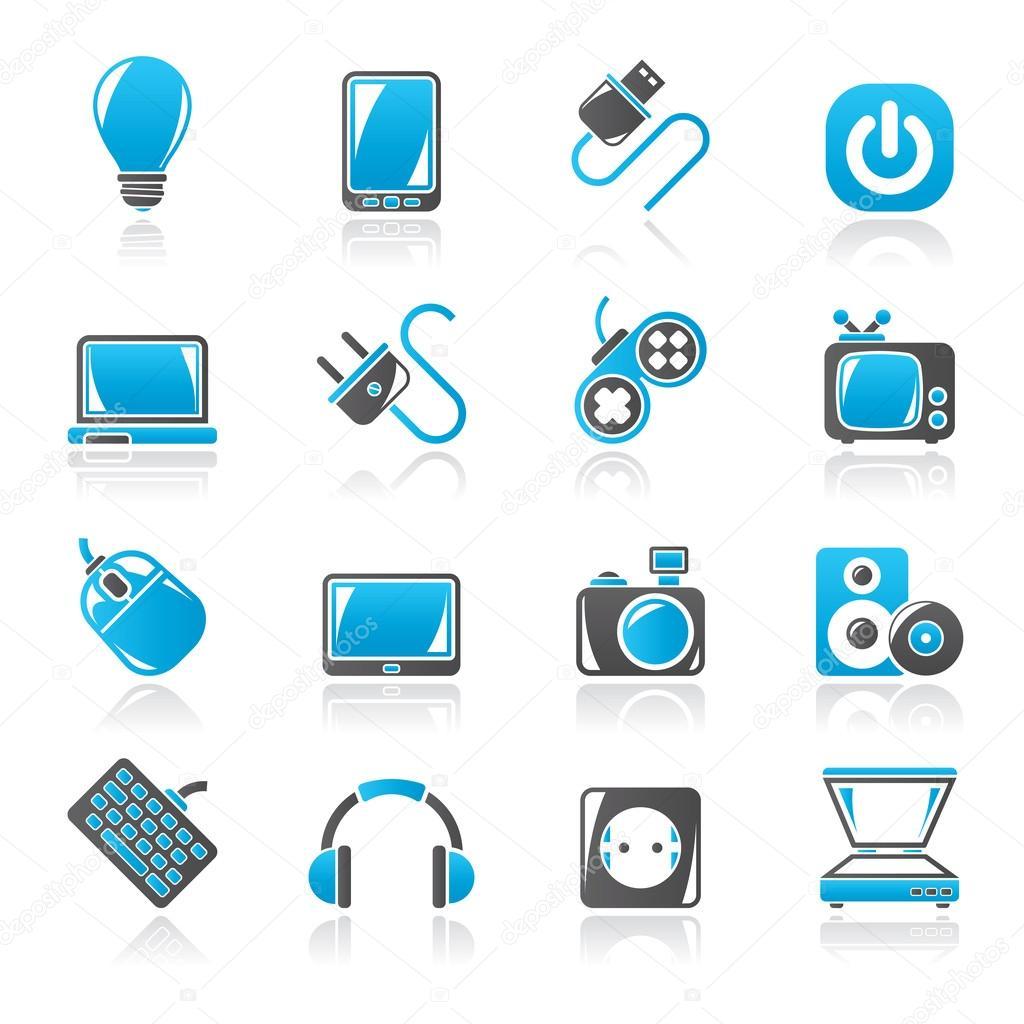 Elektronische Geräte-Objekte-Symbole — Stockvektor © stoyanh #60350997