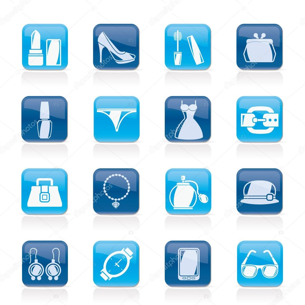 Female Fashion objects and accessories icons- vector icon set