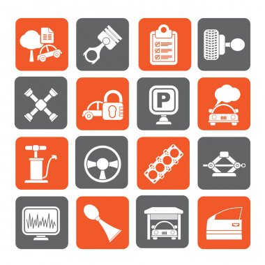 Silhouette Car parts and services icons