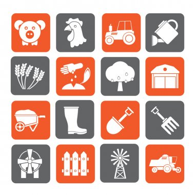 Silhouette Agriculture and farming icons