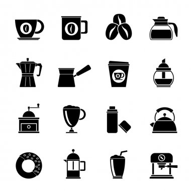 Silhouette different types of coffee industry icons