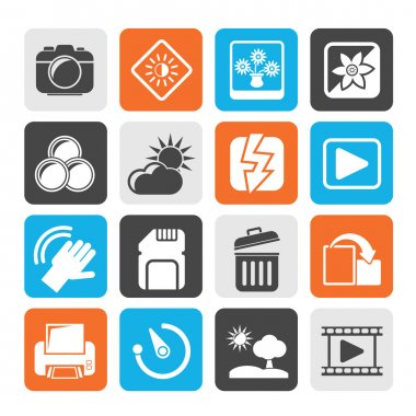 Silhouette Photography and Camera Function Icons