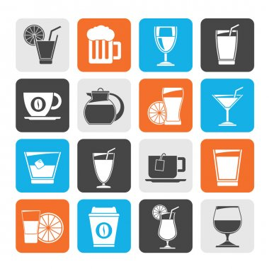 Silhouette drinks and beverages icons