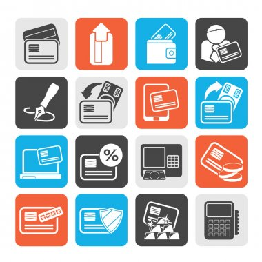 Silhouette credit card, POS terminal and ATM icons