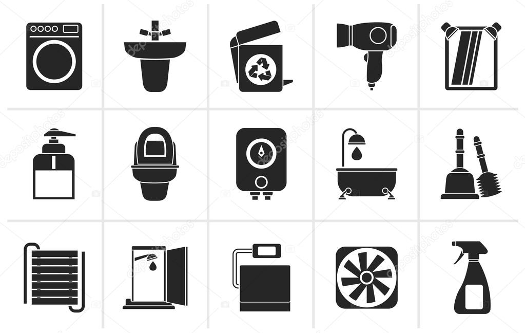 Vector: cuarto de aseo | Los iconos y objetos negro cuarto de baño y ...