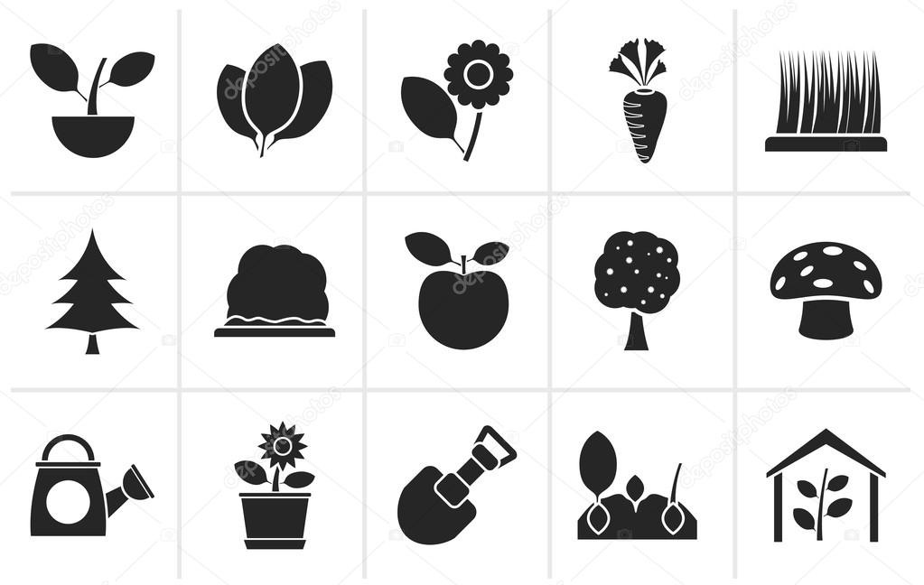Black Different Plants and gardening Icons