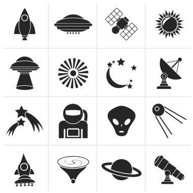 Black astronautics, space and universe icons