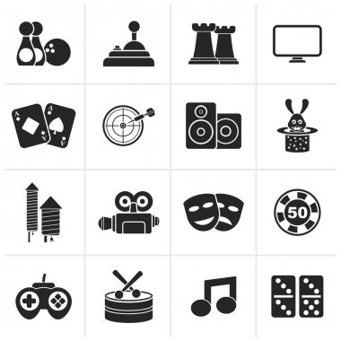 Black entertainment objects icons