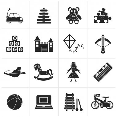 Black different kind of toys icons