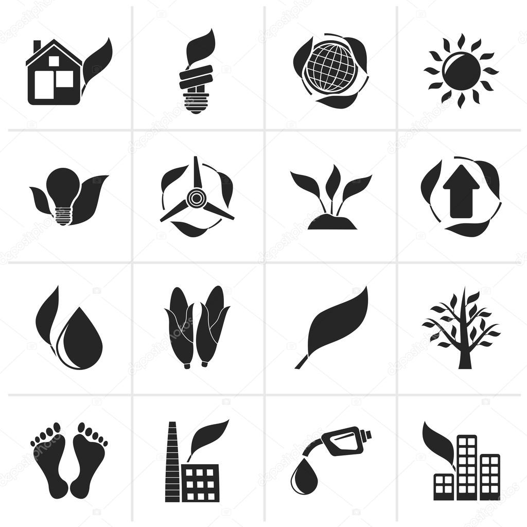 Black environment and nature icons