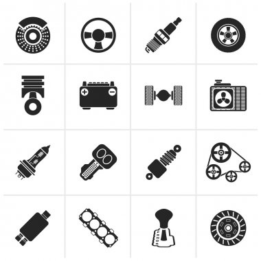 Black Different kind of car parts icons