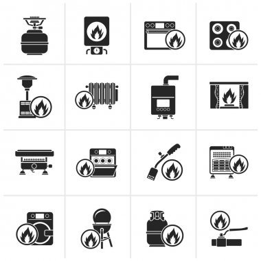 Black Household Gas Appliances icons - vector icon set clip art vector