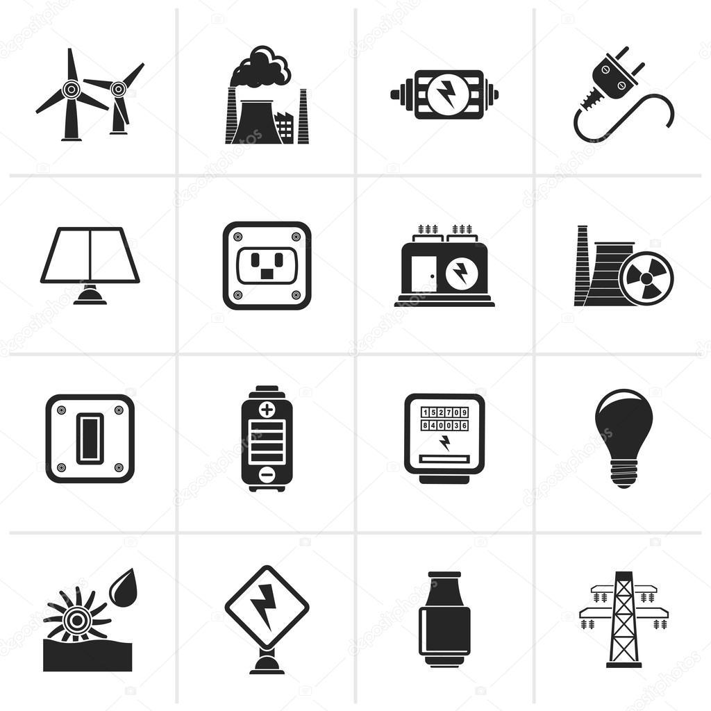 Schwarze Symbole für Elektrizität, Kraft und Energie — Stockvektor ...