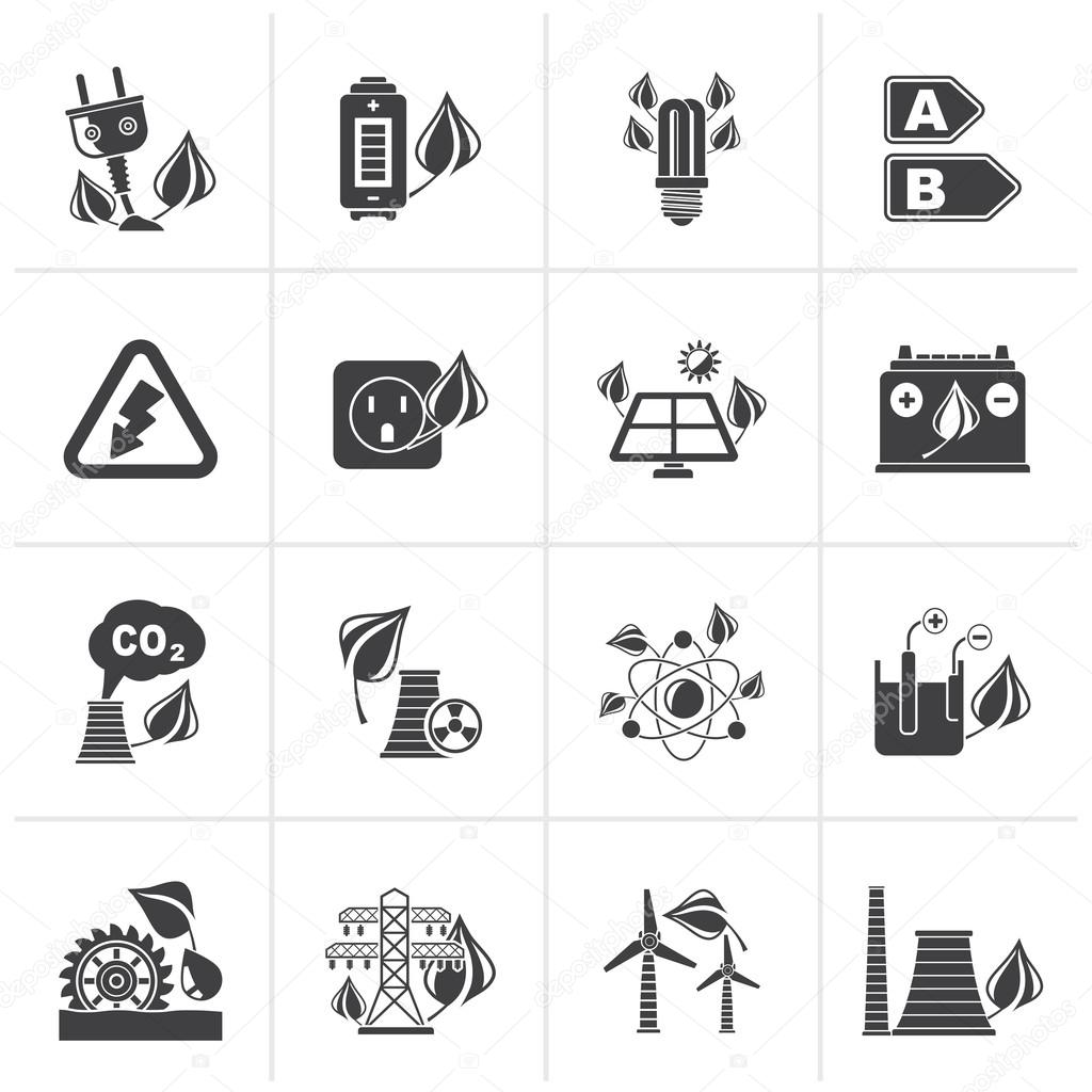 Black Green energy and environment icons
