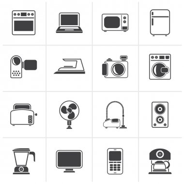 Black household appliances and electronics icons