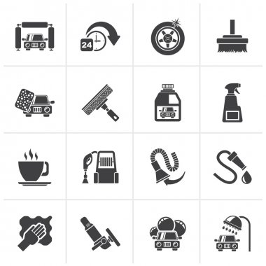 Black car wash objects and icons