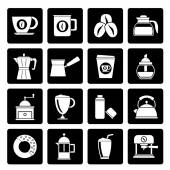 Photo Black different types of coffee industry icons