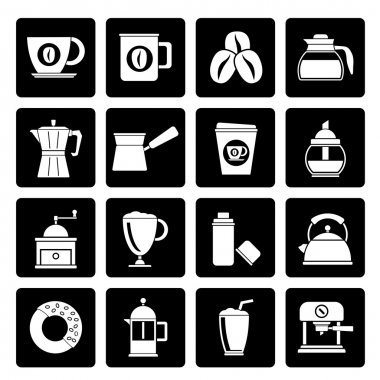 Black different types of coffee industry icons