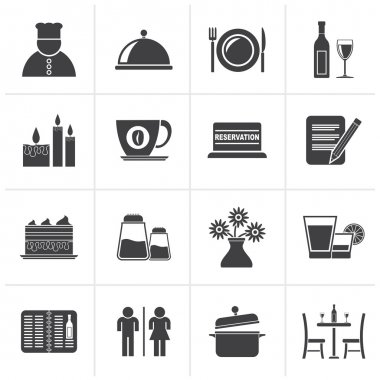 Black Restaurant, cafe and bar icons