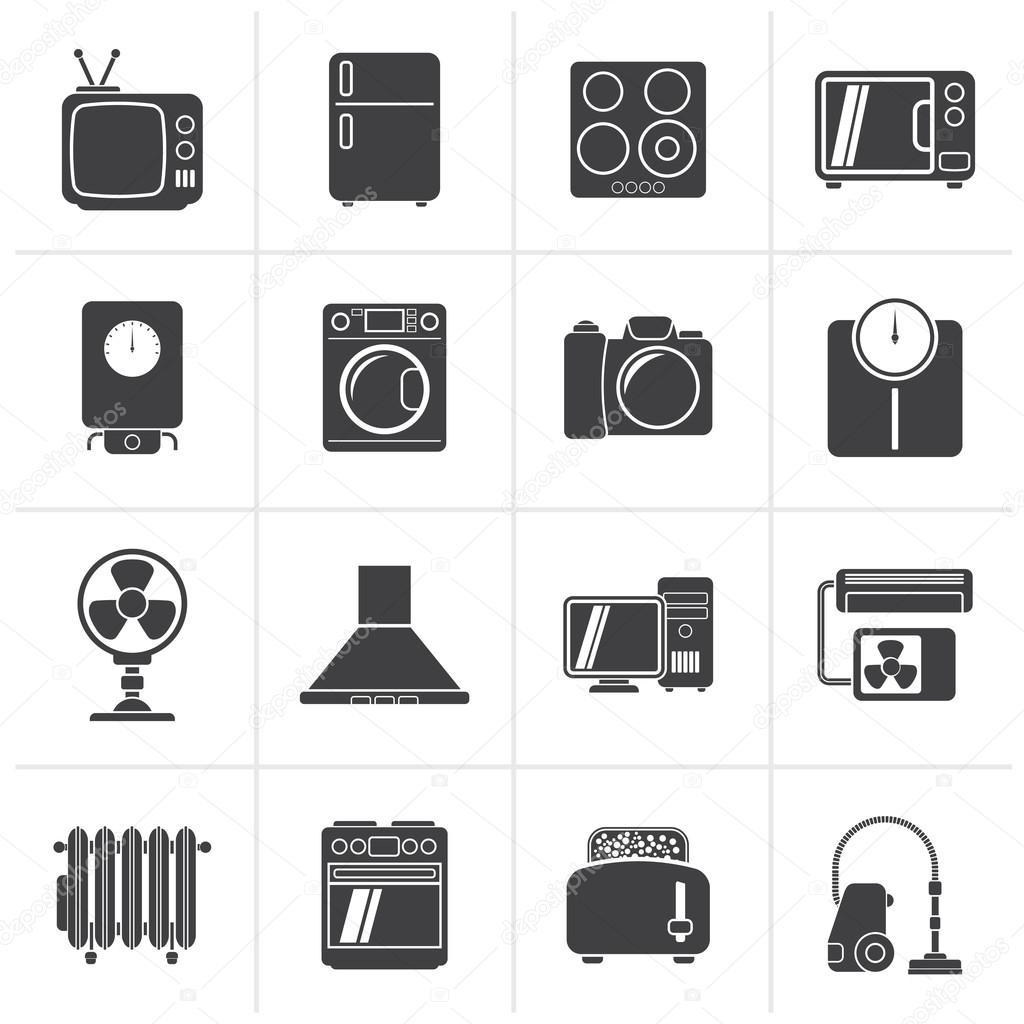 검은 집 가전 제품 및 전자 제품 아이콘 — 스톡 벡터 © stoyanh ...