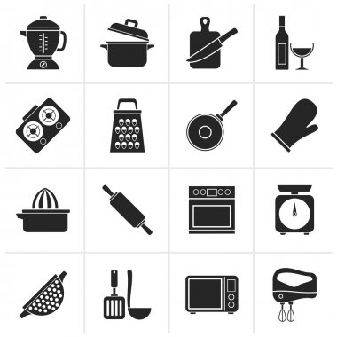 Black cooking tools icons