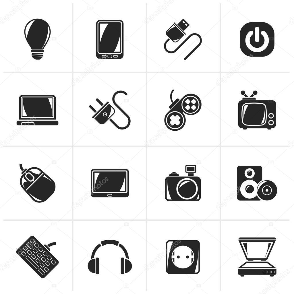 Elektronische Geräte schwarz Objekte Symbole — Stockvektor © stoyanh ...
