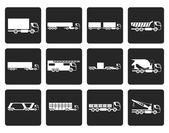 schwarz verschiedene Arten von LKW und LKW-Symbole