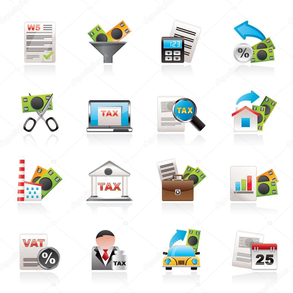 Steuern, Wirtschaft und Finanzen-Symbole — Stockvektor © stoyanh ...