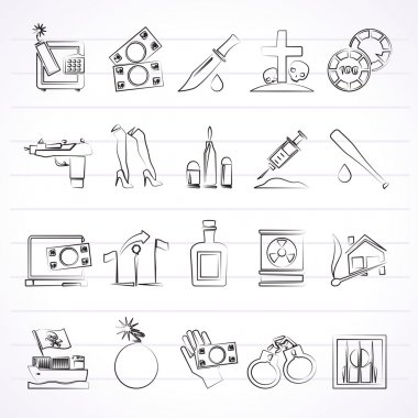 Mafia, Gangster and organized criminality activity icons